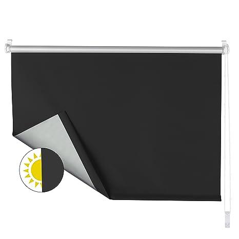 OBdeco Verdunkelungsrollo 70×160cm Schwarz Thermorollo ohne Bohren Silberbeschichtung Sichtschutz Sonnenschutz Klemmfix für F