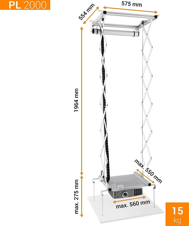 max bis 15kg Projektorma/ße 56cm x 55cm celexon Beamer-Deckenlift PL2000 ausfahrbar bis 190cm