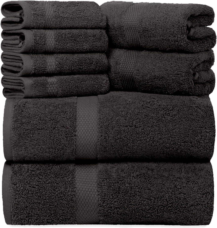 Luxury 8 Piece Bath Towel Set White - 700 GSM Thick Combed Cotton Hotel Quality Towels - 2 Bath Towels, 2 Hand Towels, 4 Washcloths (Black, 8)