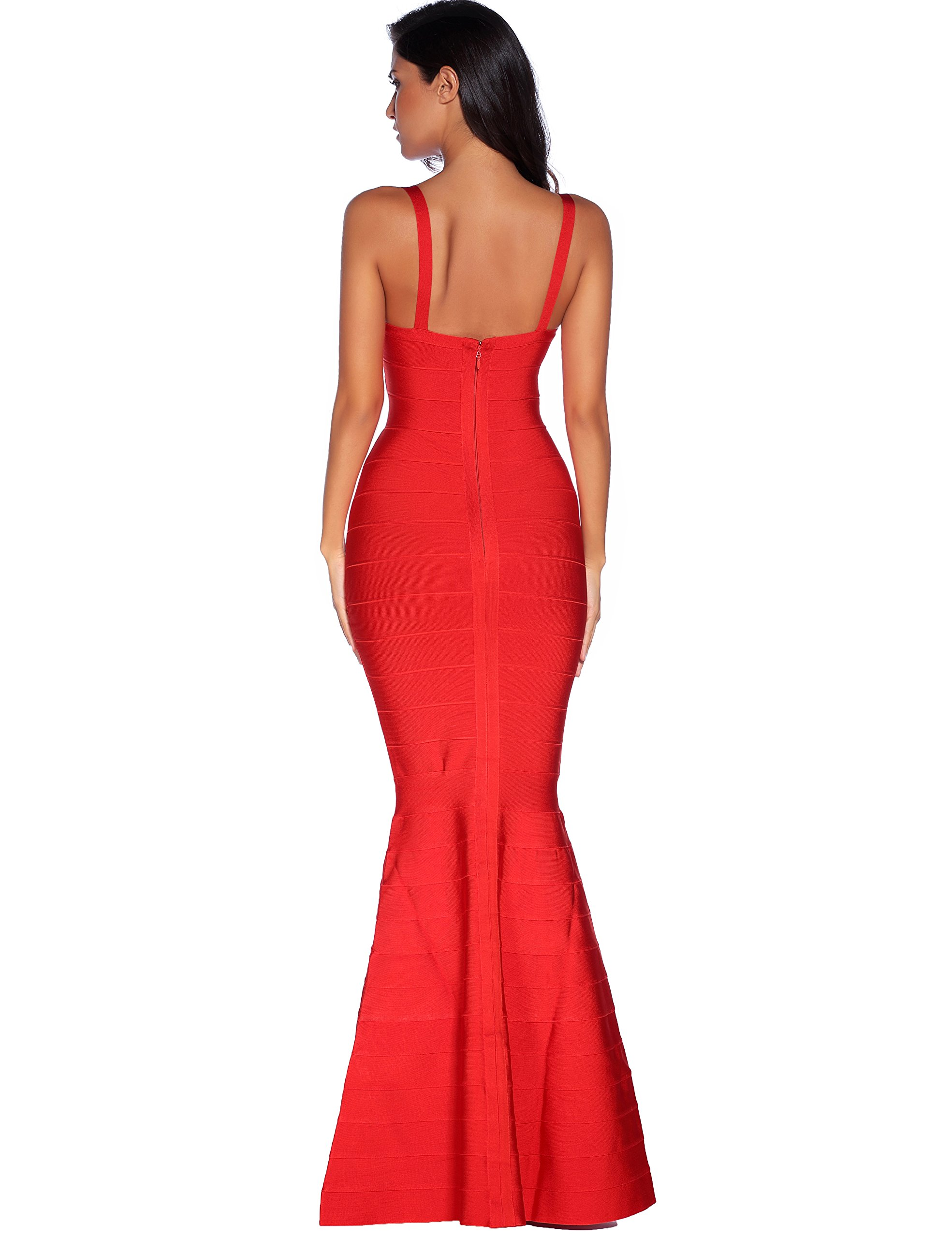 Meilun Womens Sleeveless Maxi Bandage Dress Strap Swing Dress Large Red by Meilun (Image #2)