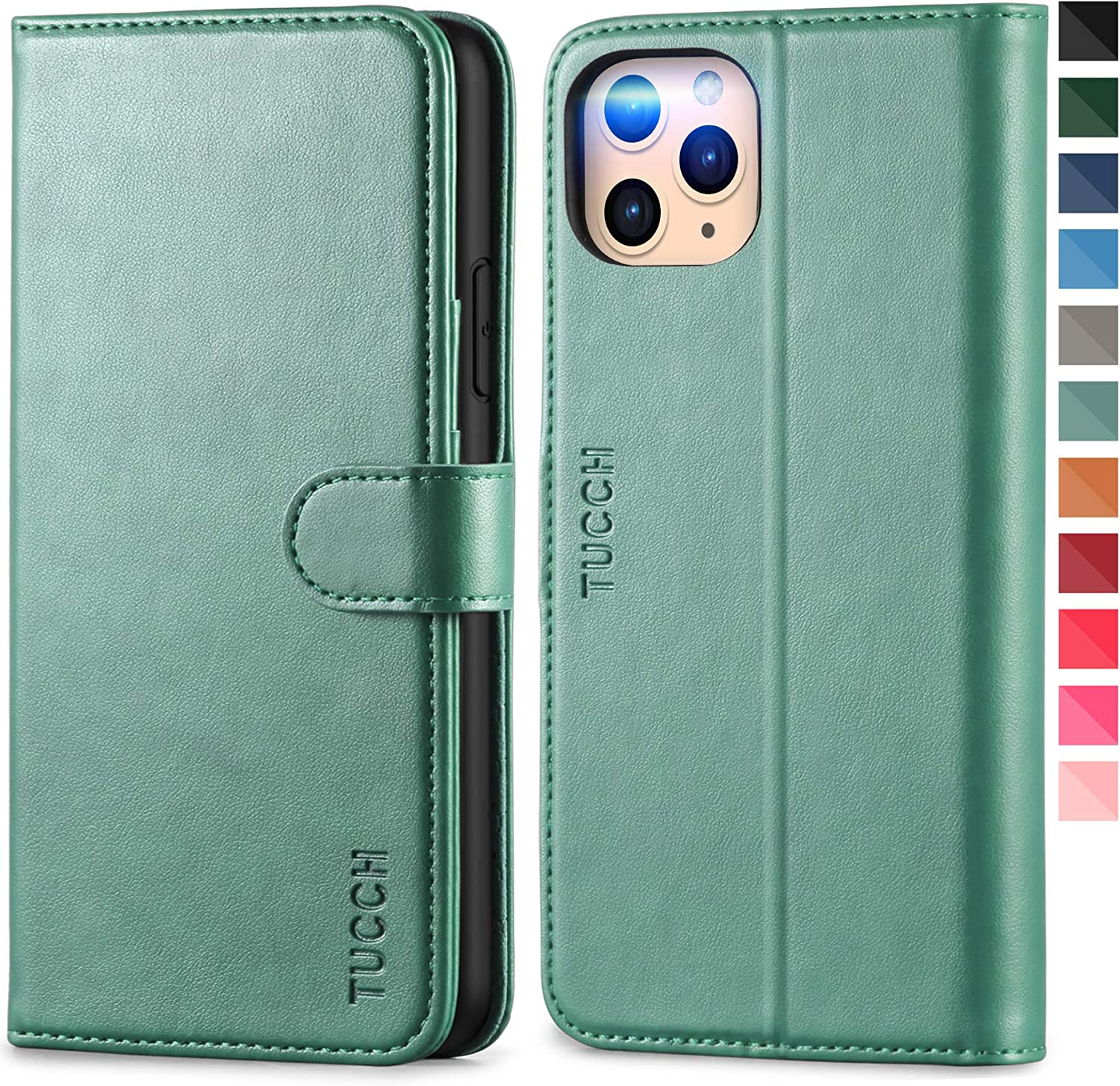 TUCCH iPhone 11 Pro Max Wallet Case, RFID Protect Card Holder Stand Magnetic PU Leather Cover with [Auto Wake Sleep] [TPU Shockproof Inner Case] Compatible with iPhone 11 Pro Max, Myrtle Green