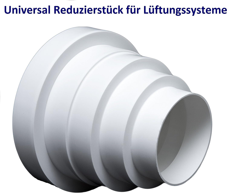 Universal - Reductor para sistemas de ventilación Diámetro 80 - 150 mm. Reductor del conector Reducción tubo diámetro 80 100 120 125 150 mm. Transición ventilación Tubo Redondo Canal. rdrc.: Amazon.es: Bricolaje y herramientas