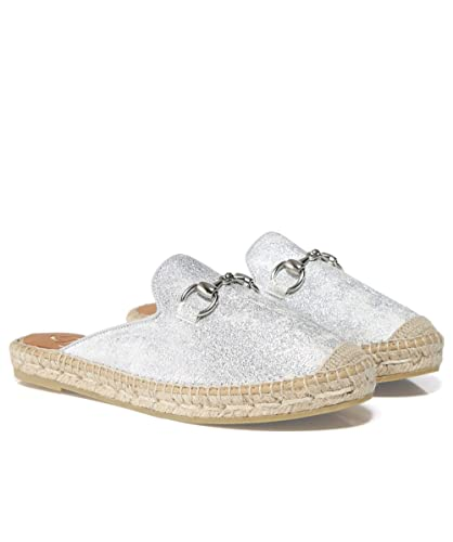 6a3218049909 Amazon.com | Kanna Women's Leather Glitter Sliders Silver | Shoes