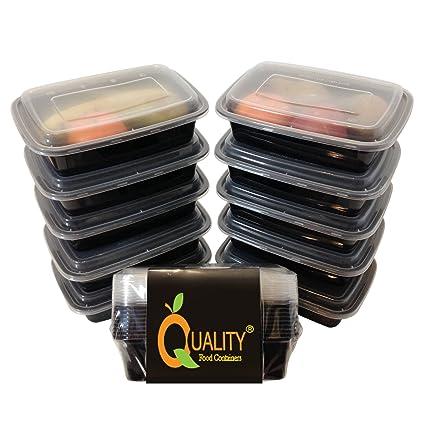 Paquete de 10 piezas de contenedores para comida de plástico reutilizables, apilables,
