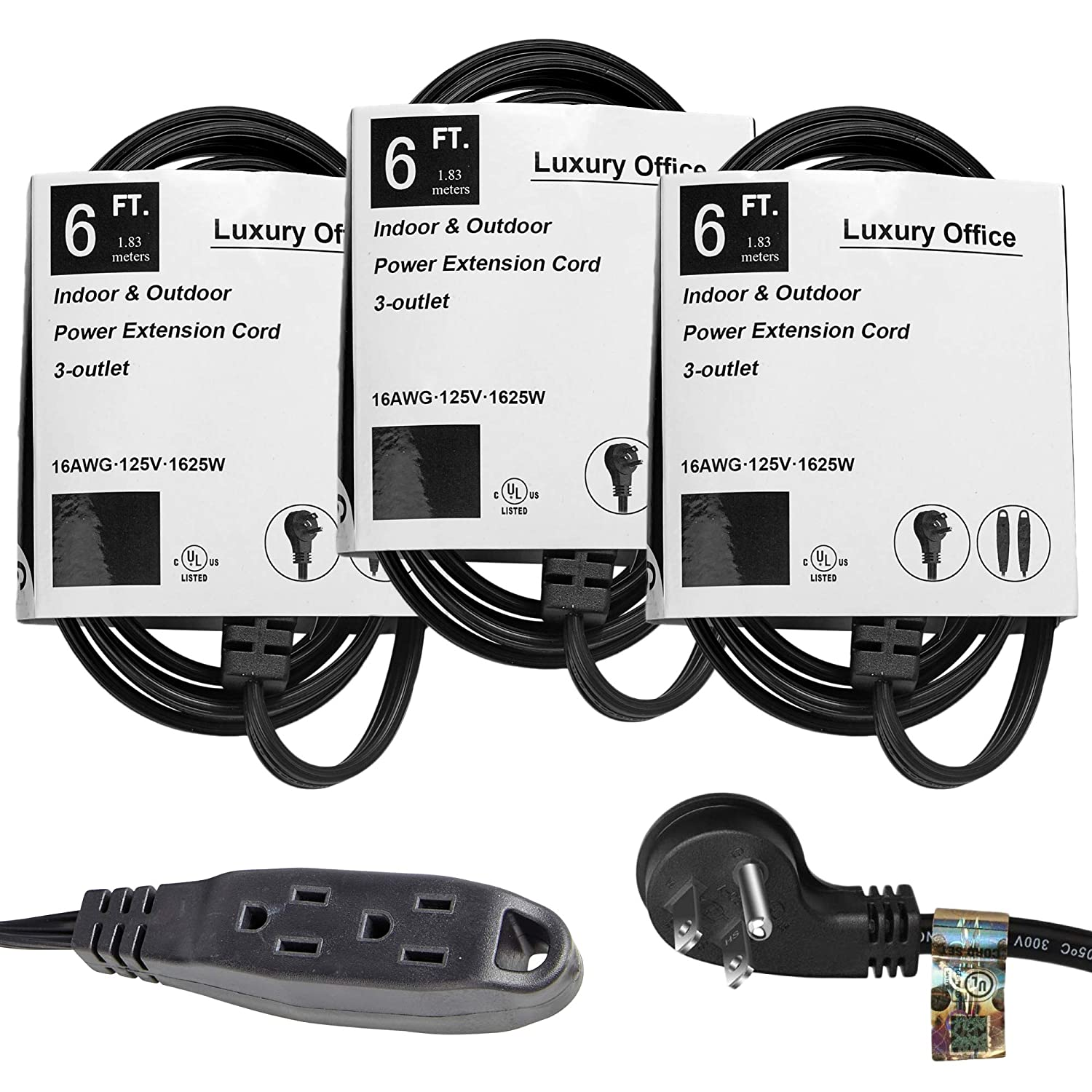 3 Way Power Splitter and 6' Extension Cord, 3 Pack With Angled Plug - 1 to 3 Cable Strip With 3 Pronged Outlets and Long Y Style Wire – Black - SJT 16 AWG – By Luxury Office