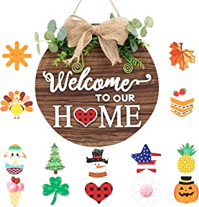 MELAJIA Interchangeable Door Sign Seasonal Wreaths for Front Door Welcome Wooden Signs for Home Décor with Green Eucalyptus Leaves 12 Inch