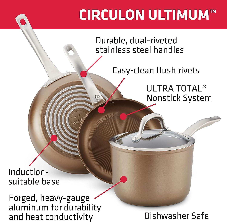 Circulon 10866 Ultimum Forged Aluminum Nonstick Deep Frying Pan Black 9.75-inch Skillet