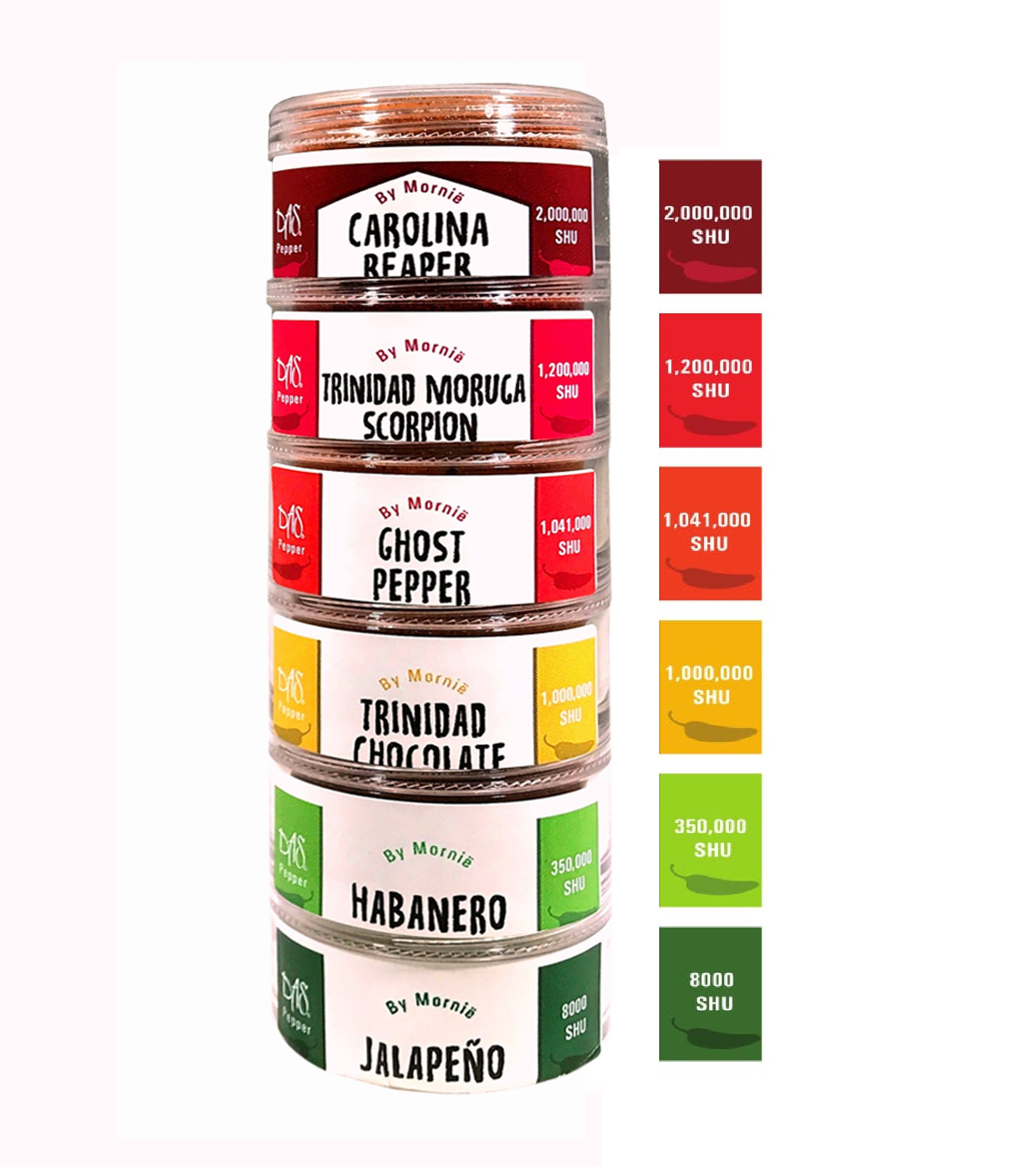 Chili powder Sampler,Hot peppers, 6 of the hottest peppers in the world - Das by Mornie