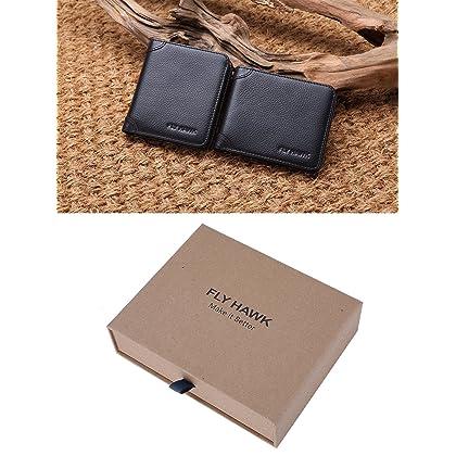 FlyHawk.Inc Genuine Leather RFID Blocking Wallets Mens thin Wallet