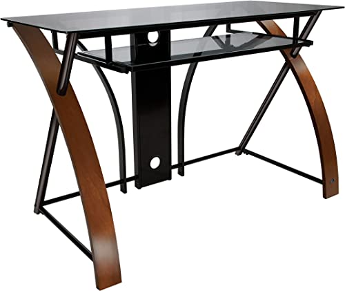 Bell O Computer Desk with Keyboard Tray, Espresso Black