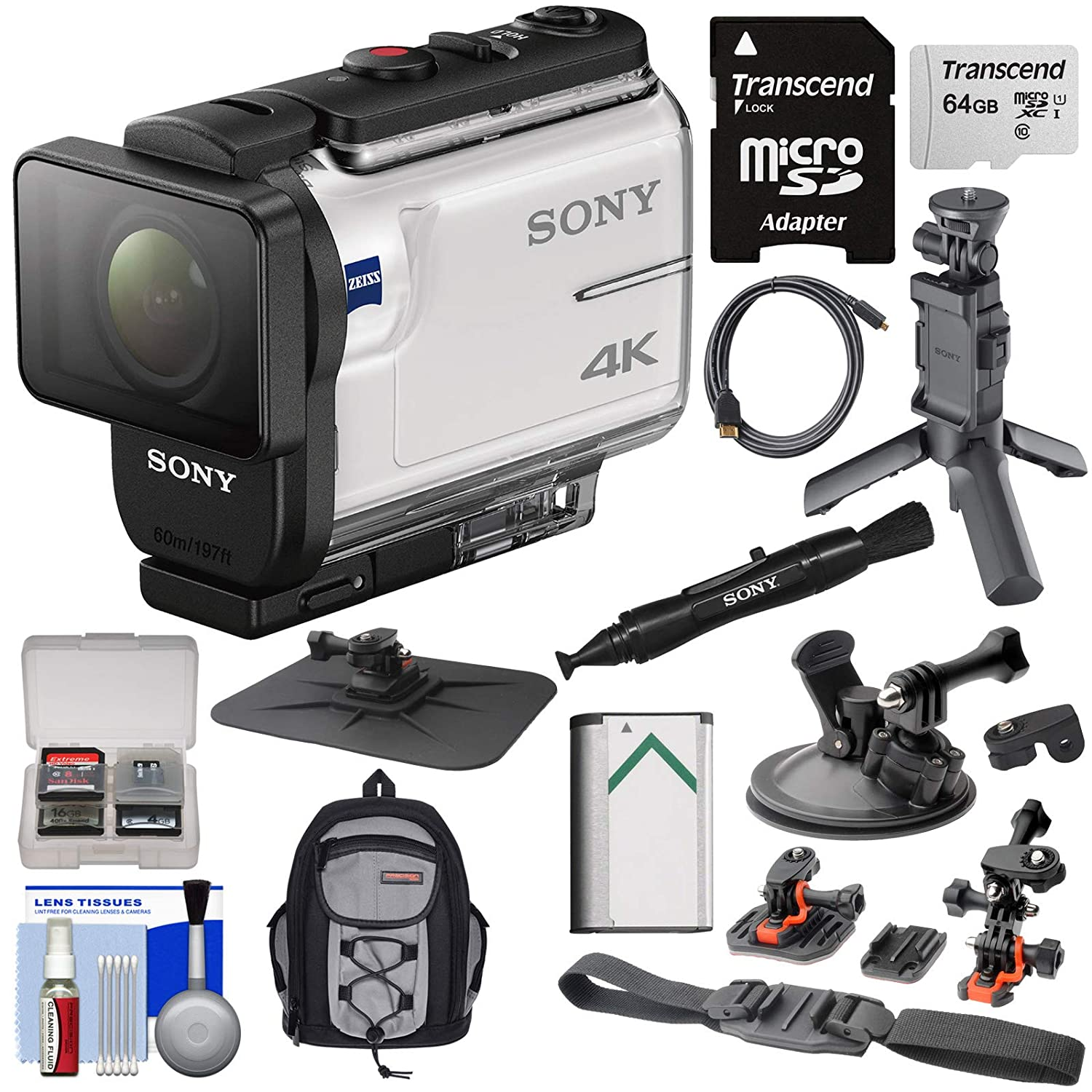 Amazon.com : Sony Action Cam FDR-X3000 Wi-Fi GPS 4K HD Video Camera  Camcorder with Shooting Grip Tripod + Action Mounts + 64GB Card + Battery +  Backpack + ...