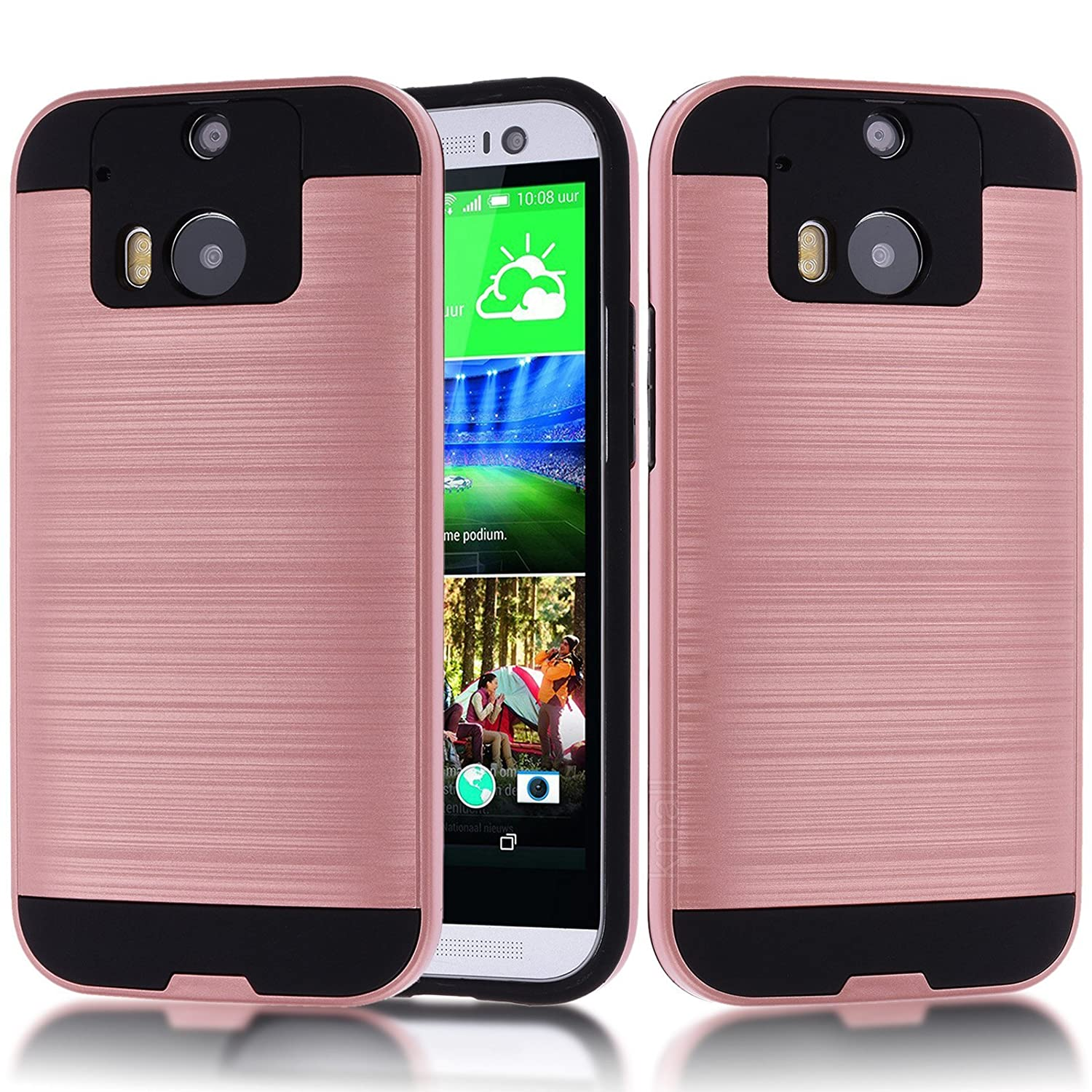 finest selection 1fb34 1e64b HTC One M8 Case,HTC M8 Case,Kmall Metal Brushed Texture Slim Impact  Resistant Heavy Duty Hybrid Dual Layer Full-Body Shockproof  Shock-Absorption ...