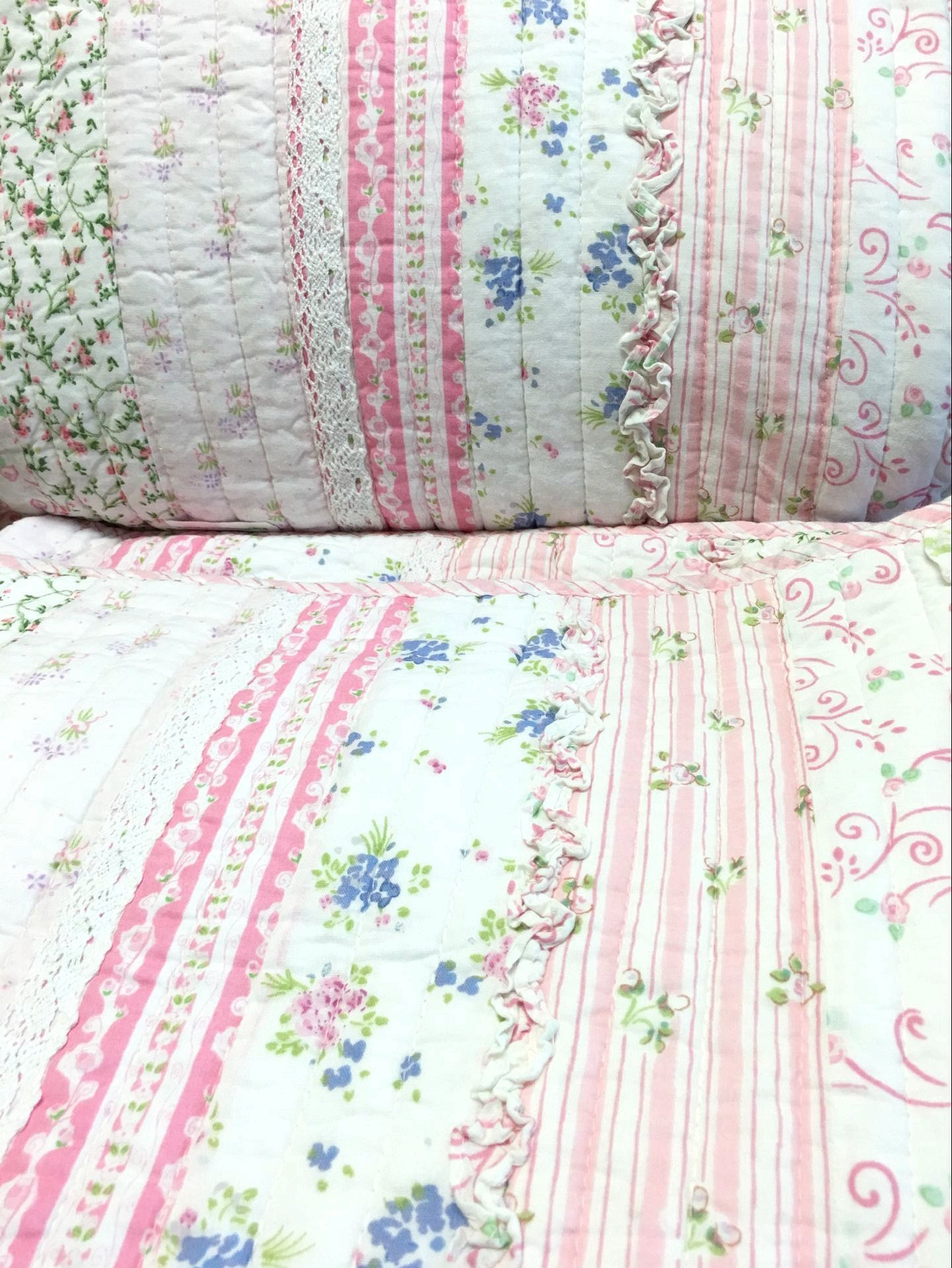 Cozy Line Home Fashions Pink Rose Romantic Chic Lace Bedding Quilt Set, Floral Flower Printed 3D Stripe 100% COTTON Reversible Coverlet Bedspread Gifts for Girls Women (Queen - 3 piece) by Cozy Line Home Fashions (Image #7)