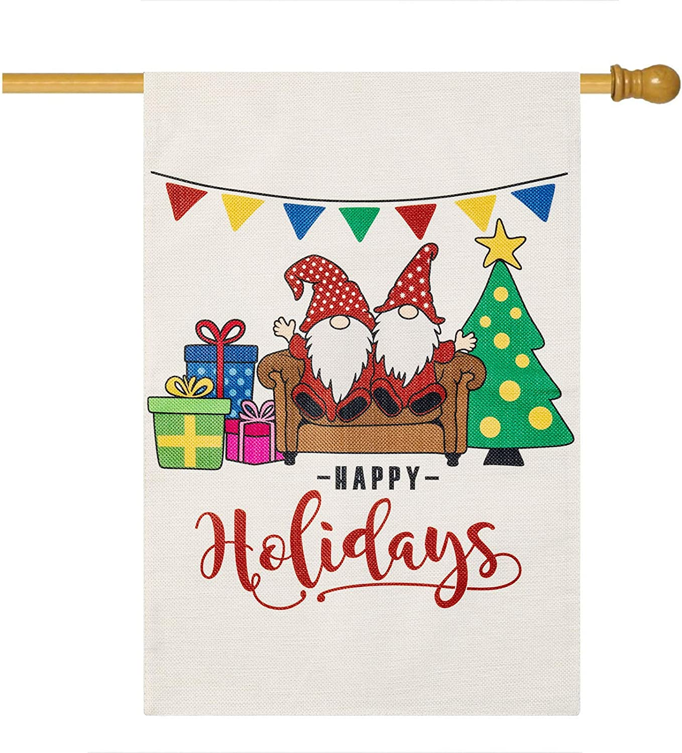 LARMOY Christmas Happy Holidays Gnome Garden House Flag 20 x 48 Inch Double Sided, Small Winter Burlap Yard Flags for Xmas Outdoor Decoration