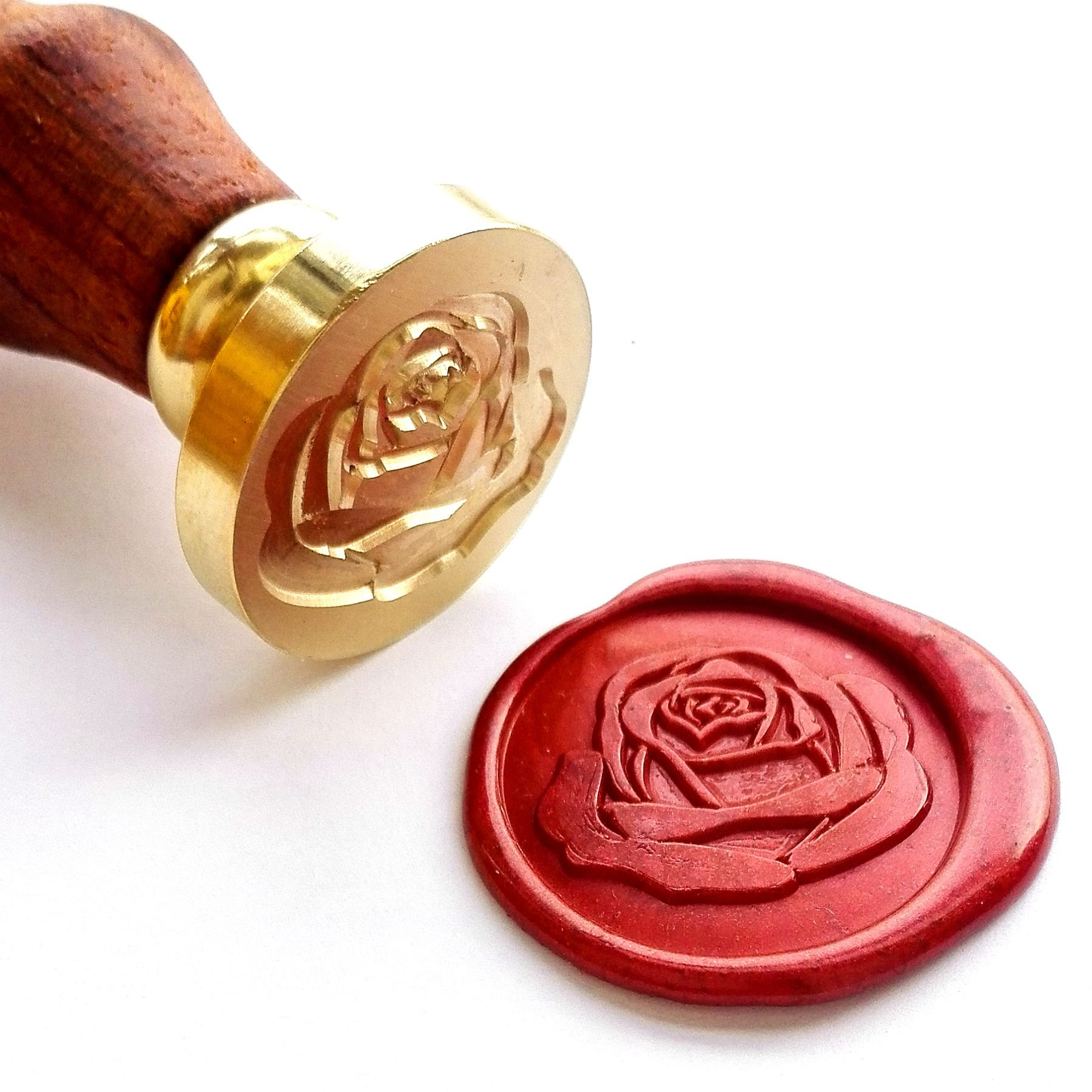 Vooseyhome The Rose Wax Seal Stamp with Rosewood Handle - Ideal for Decorating Gift Packing, Envelopes, Parcels, Parties, Weddings, Invitations, Cards, Signature and Everything You Like!