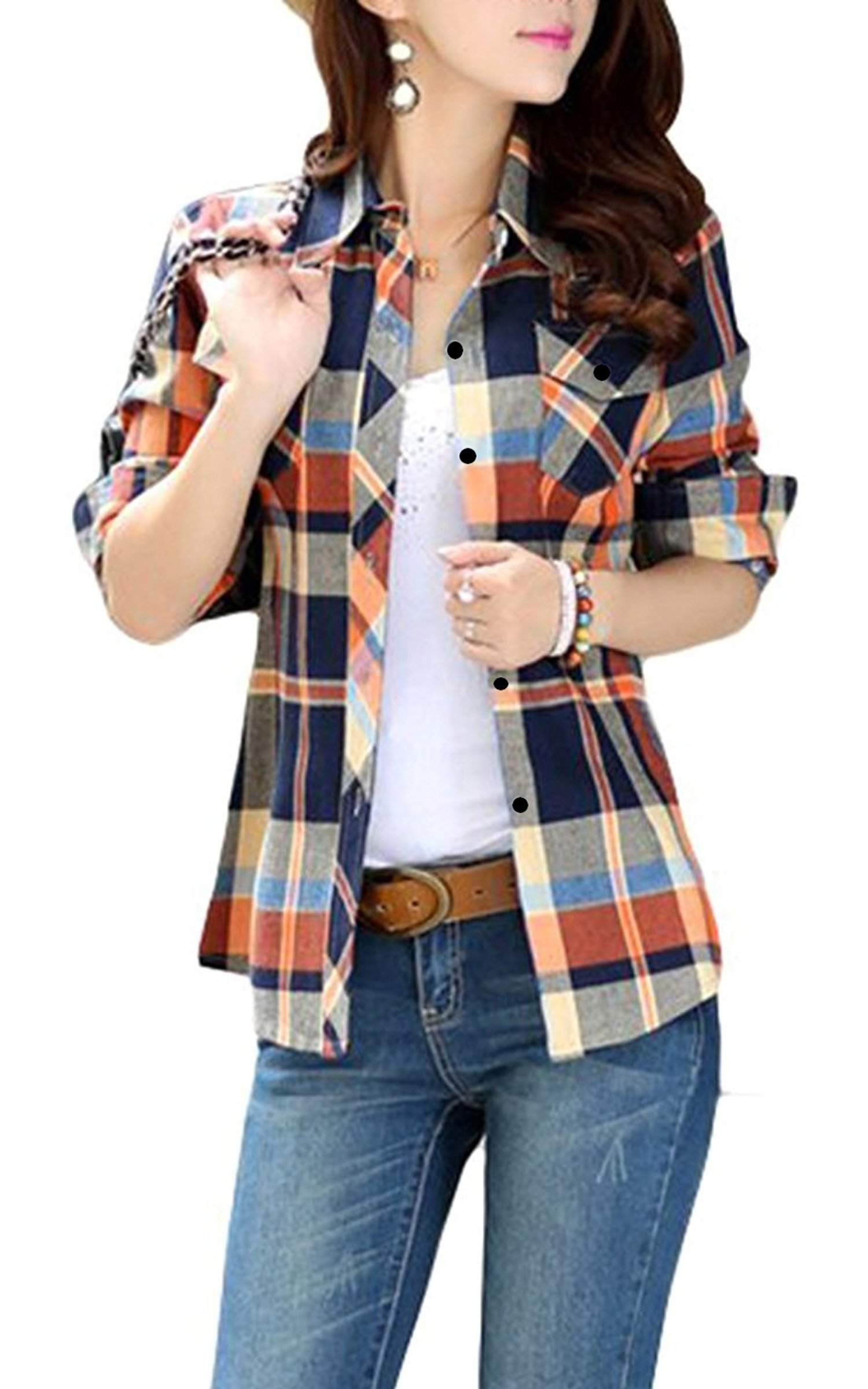 FShop365 Women Mid-Long Style Roll-Up Sleeve Plaid Shirt Orange M