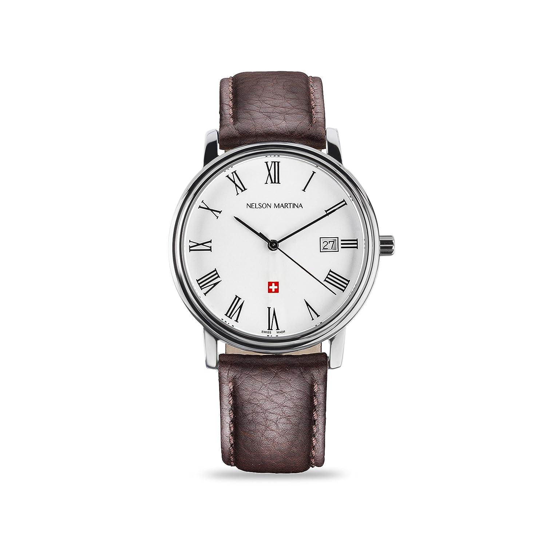 * Neu | Nelson Martina Classic Silver 308 | Saphirglas | Swiss Made