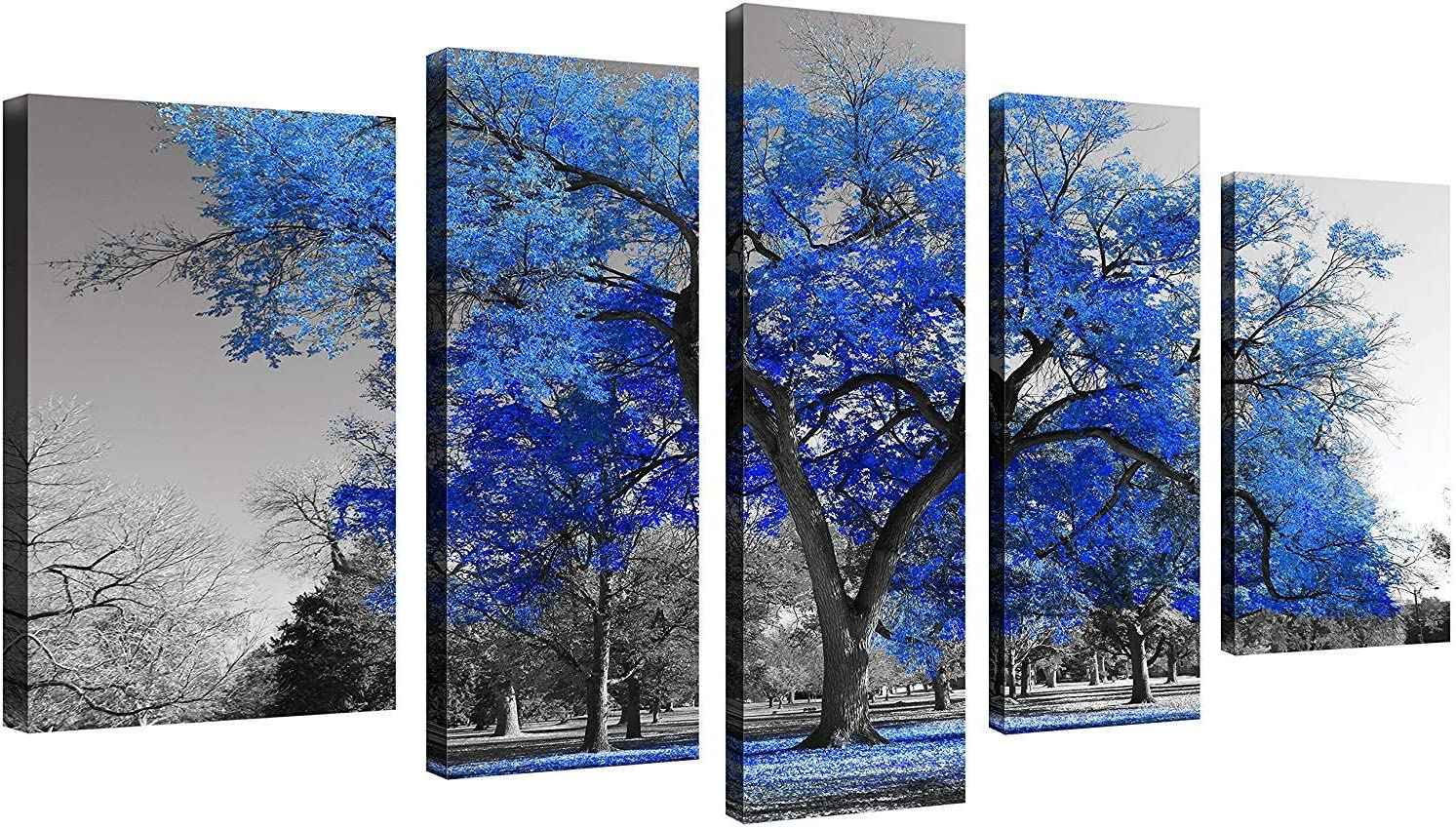 QICAI 5 Panels Canvas Print Wall Art Painting Contemporary Blue Tree in Black and White Style Fall Landscape Picture Modern Giclee Stretched and Framed Artwork Ready to Hang, 5 pcs/Set