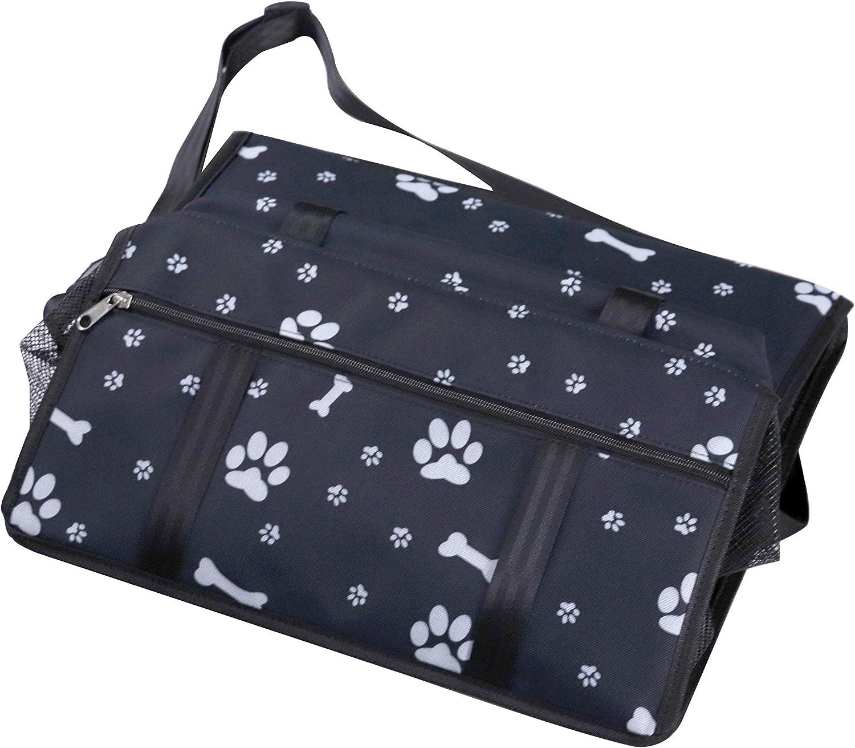 JKC Almacenamiento para portabeb/és para Perros y Gatos para Perros y Gatos con Correa de Seguridad y Bolsillo de Almacenamiento con Cremallera Negro con Estampados de Patas