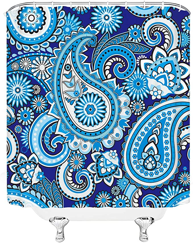 Dachengxing Ethnic Shower Curtain Paisley Indian Classical Pattern Decor Swirl Teardrop With Flower Leaf Exotic Vibrant Print Fabric Bathroom Set Hooks Included 70x70 Inch Blue Home Kitchen Amazon Com