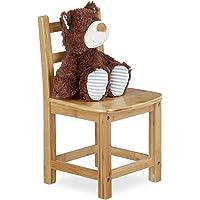 Relaxdays Chaise enfant bambou RUSTICO nature chambre d'enfants bois pour filles et garçons HxlxP: 50 x 28,5 x 28 cm, nature