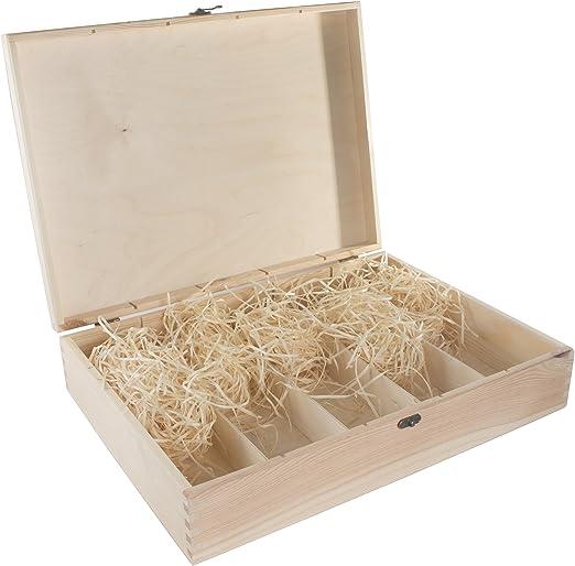 Caja de madera para 5 botellas de vino, bisagras y cierre de metal ...