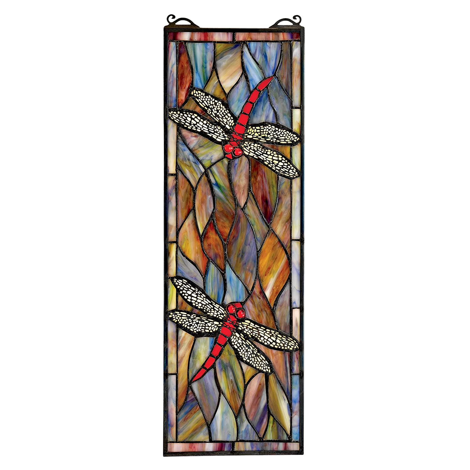 Design Toscano Dragonfly Stained Glass Window Hanging Panel, 53 cm, Stained Glass, Full Color TF53502