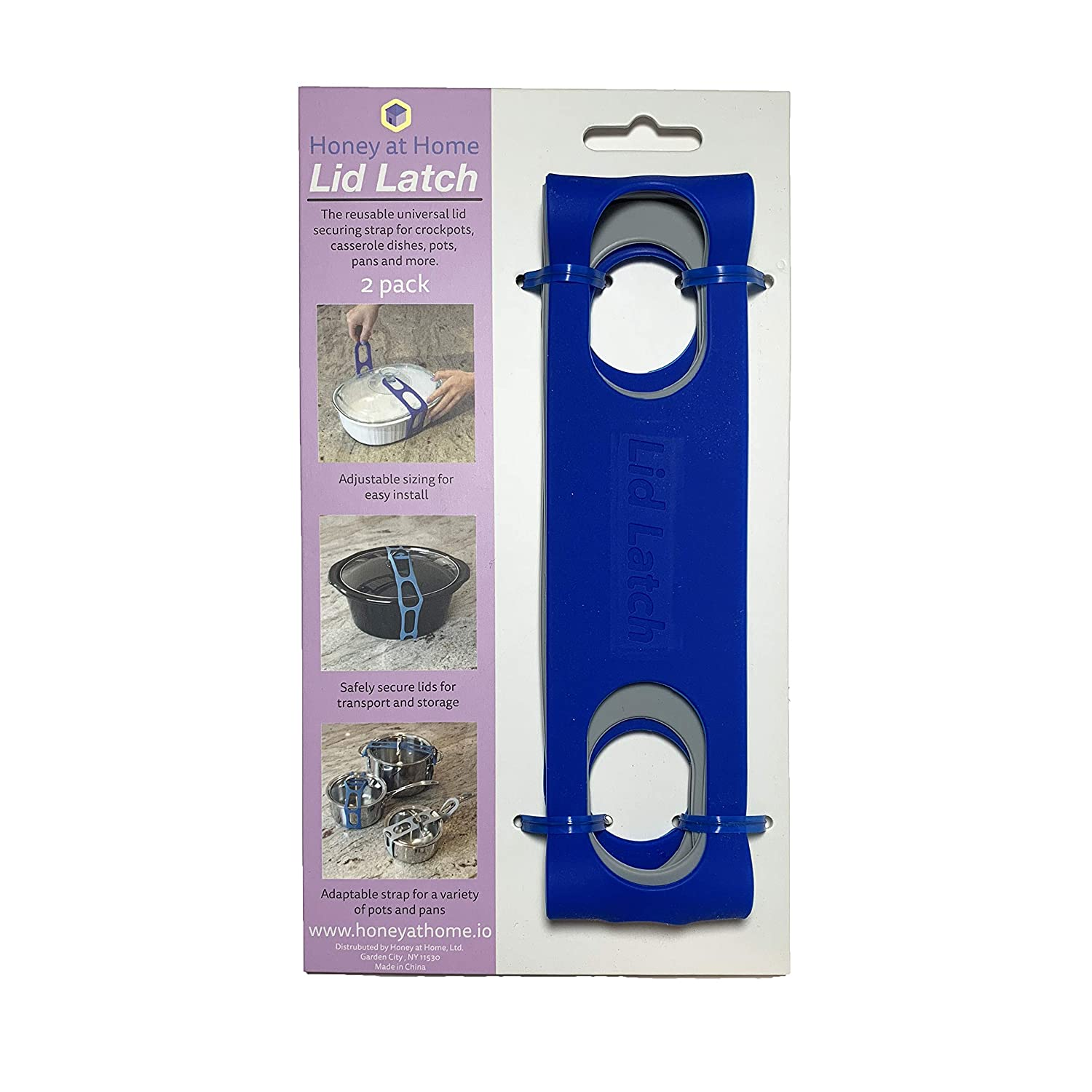 Lid Latch the reusable universal lid securing strap for crockpots, casserole dishes, pots, pans and more. Make it easy to transport your favorite dishes with one simple, flexible strap.(Retail 2 Pack)