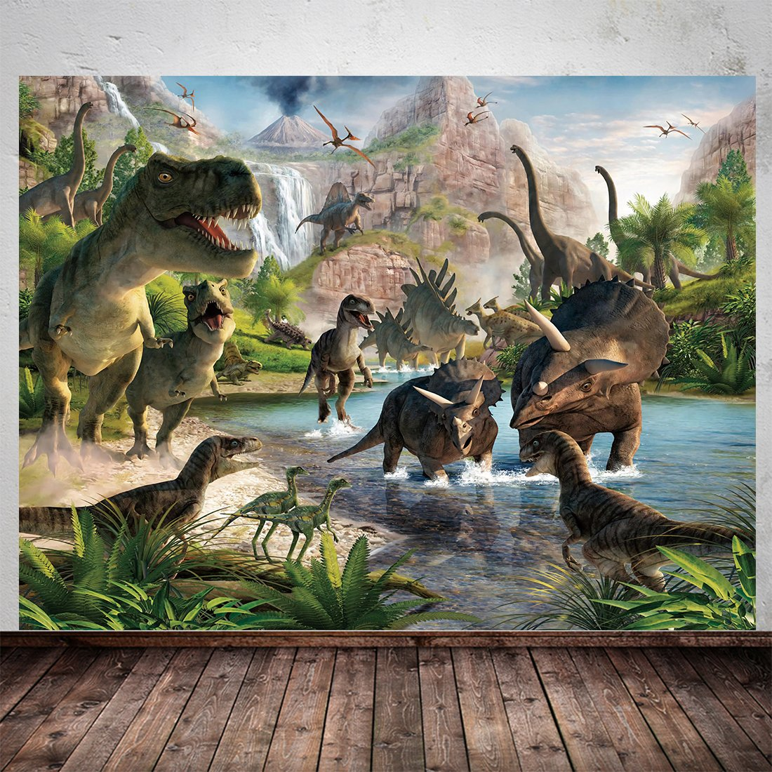 7X5Ft Dinosaur Theme Photography Backdrops Photo Studio Backdrop Vinyl Backdrop Photo Booth Background for Photography Video Kid Children Birthday Party