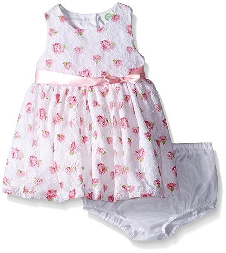 c28107d88917 Amazon.com  Little Me Baby Girls  White Floral Printed Dress Set