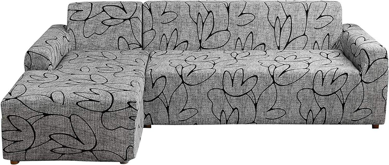 papasgix Funda para sofá con chaise longue elástica, funda para sofá en forma de L chaise longue sofá esquinero lavable extraíble funda protectora (gris/flor, 3 plazas + 3 plazas)