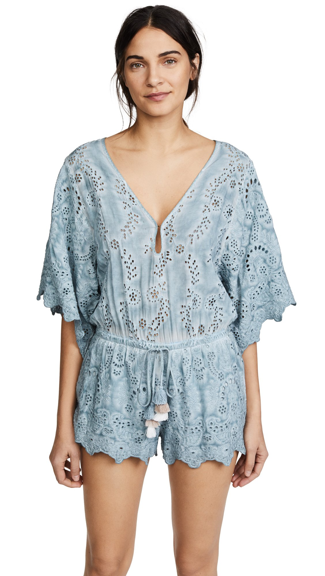 Young Fabulous & Broke Women's Angelou Romper, Icy Blue Oil Wash, L