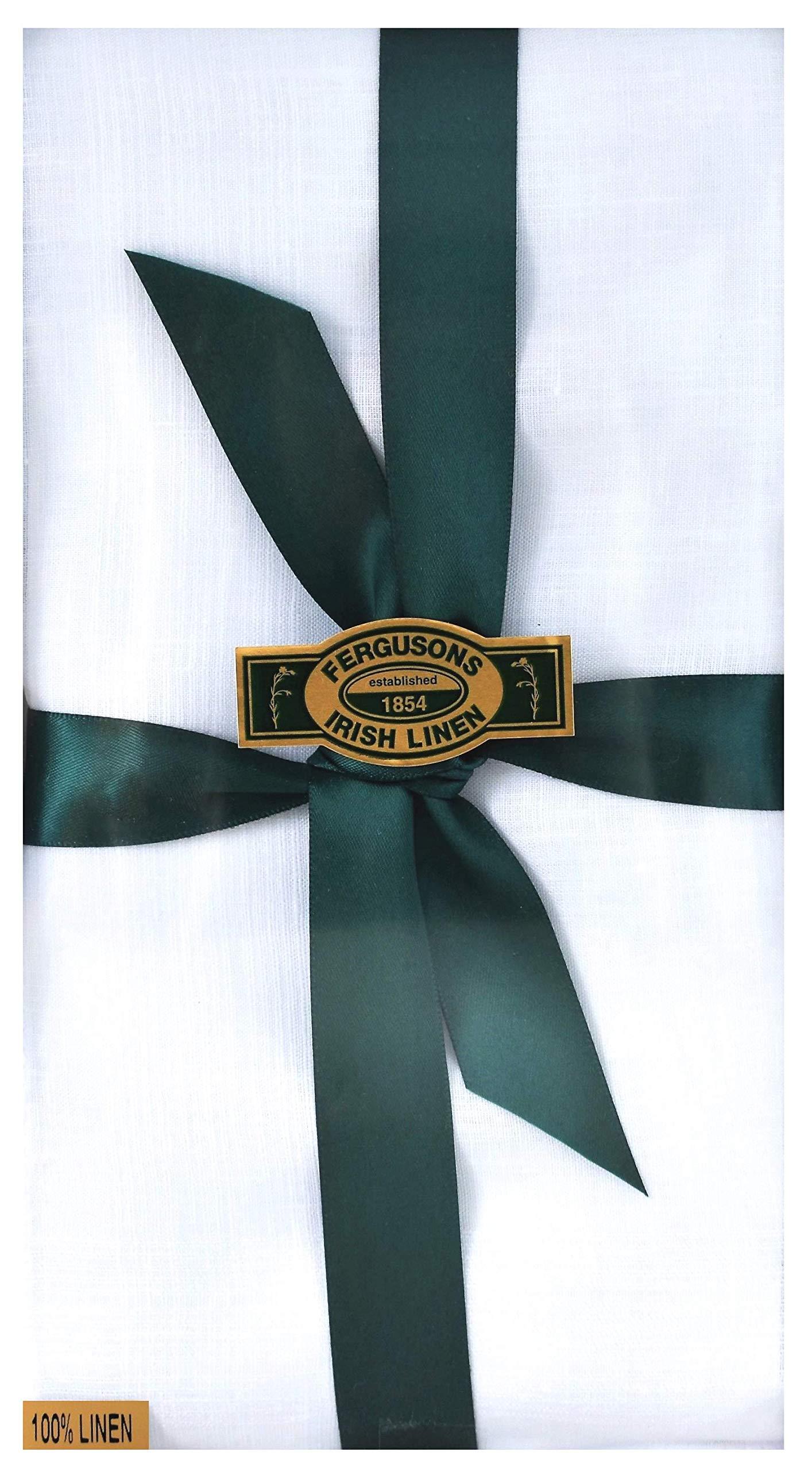 Thomas Ferguson - Gentlemen's Corded Irish Linen Handkerchief, BH176 White - Pack of 2 in Gift Box