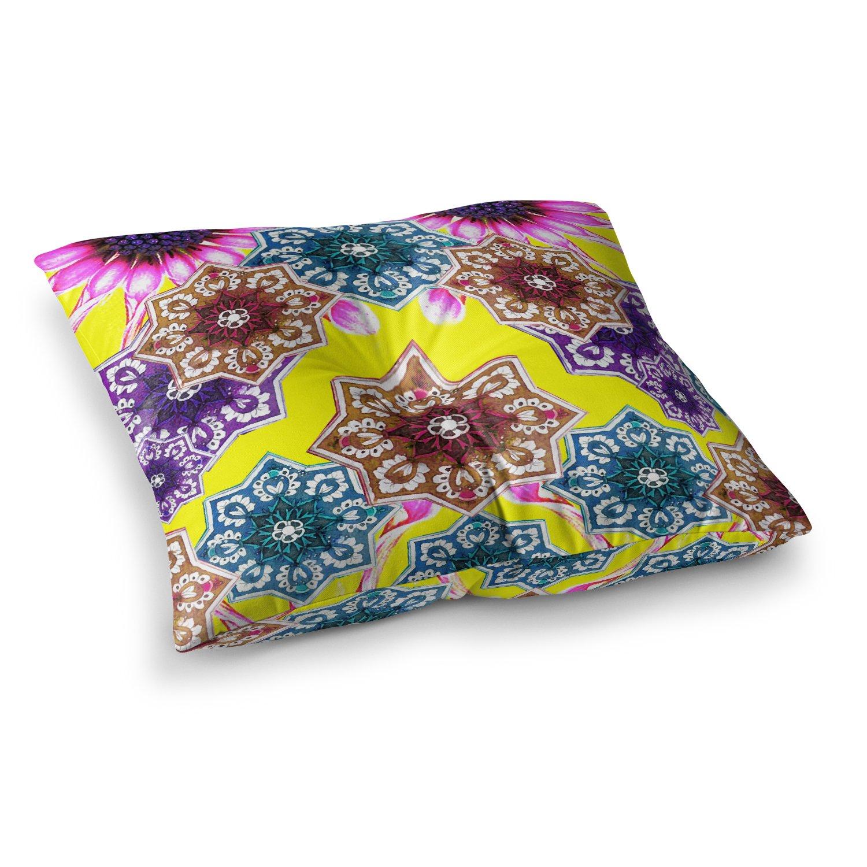 Kess InHouse Fernanda Sternieri Flower Power Yellow Floral Square Floor Pillow 23' x 23'
