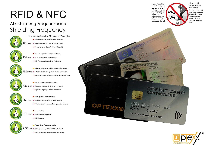 OPTEXX RFID Schutzh/üllen 6x Felix f/ür Kreditkarte  EC-Karte  RFID Blocker  Personal-Ausweis H/ülle  Kartenh/ülle hartplastik  Blocking von Funk Chips