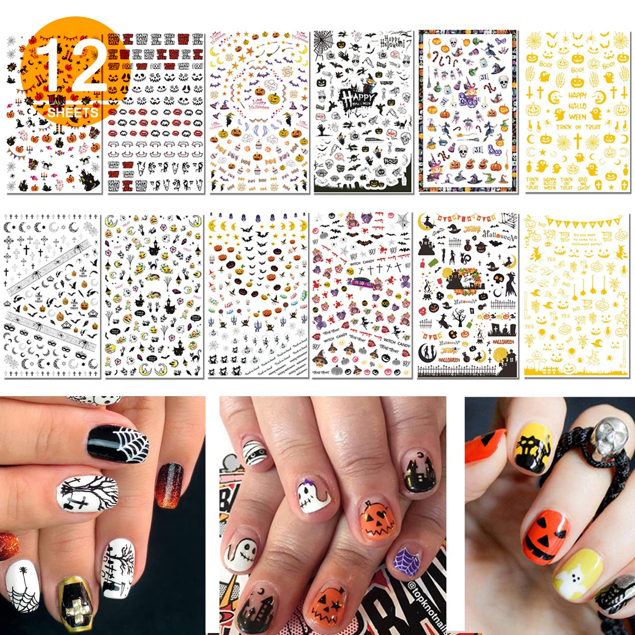 TailaiMei 1500 Pcs Halloween Nail Decals Stickers, 12 Sheets Self-Adhesive DIY Nail Art Tips Stencil for Halloween Party, Include Pumpkin/Bat/Ghost/Witch etc: Beauty