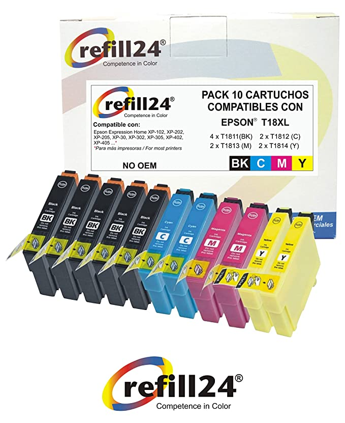 T18 refill24 Cartuchos Compatible para Expression Home XP-322 XP ...