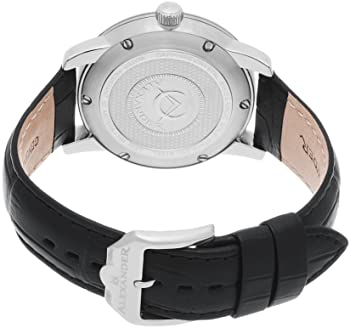 Heroic Macedon Stainless Steel Mens Dress Watch Black Leather Band - 40mm Analog Silver Face with Second Hand Date and Sapphire Crystal - Classic Swiss Made Quartz Watches for Men A111-02