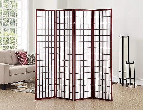GTU Furniture Japanese Style 4 Panels Wood Shoji Room Divider Screen Oriental for Home Office Cherry