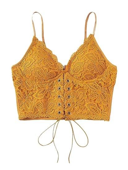 e0da41ccd7e7a SheIn Women s Sexy Strappy Lace Up Front Lace Bralette Zipper Cami Crop Top  Small Ginger