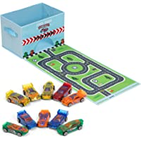 Toy Car Storage Set, with 10 Cars and Road Play Mat, Collapsible - Premium, Foldable Toy Chest and Organizer with Sturdy…