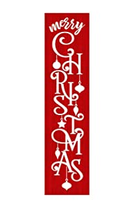 24 Inch Red and White Merry Christmas Vertical Wood Print Sign