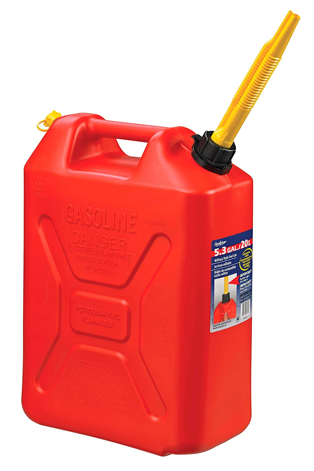 Scepter 3609 20 Liter/5.3 Gallon Fuel Can, Military Style, Red 003609