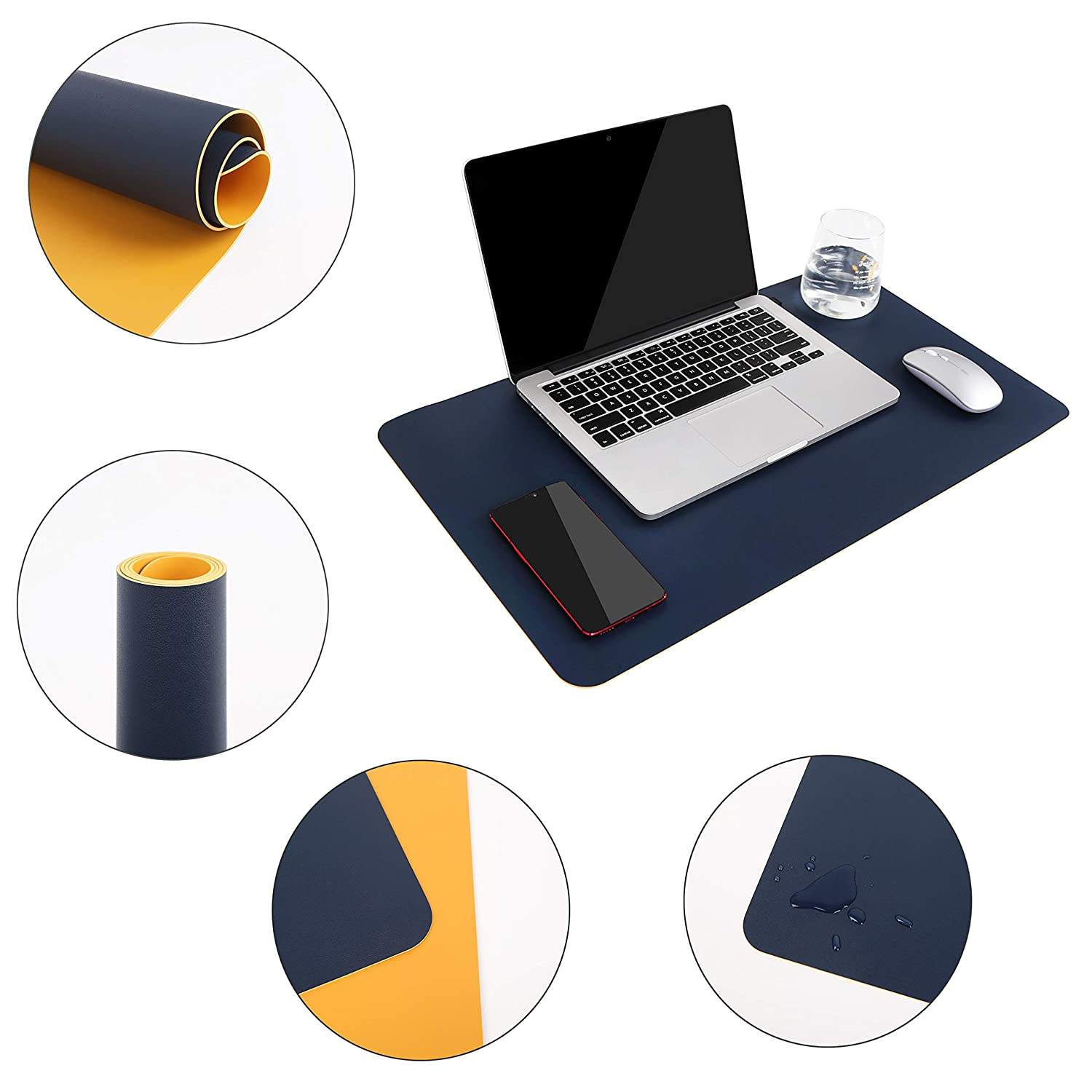 Blue-Green, 90 x 43 cm Multifunctional Office Desk Pad YSAGi Ultra Thin Waterproof PVC Leather Mouse Pad Dual Use Desk Writing Mat for Office//Home