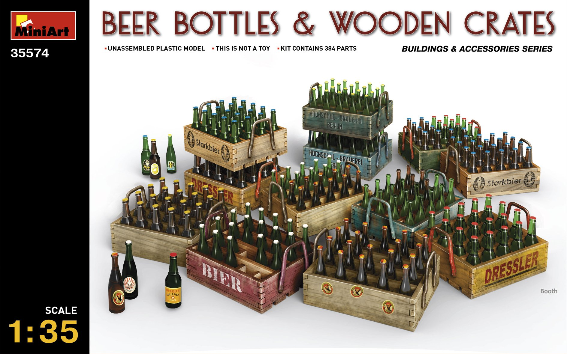 PLASTIC MODEL BUILDING DIORAMA BEER BOTTLES AND WOODEN СRATES 1/35 MINIART 35574