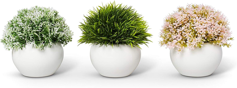 ELYSIANZE Mini Artificial Plants | Modern Farmhouse Plants Home Decor | Small Fake Plants | Office/Kitchen/Bathroom/Bedroom/Mantle/Shelf/Living Room/Table Decoration Faux Plant Set -