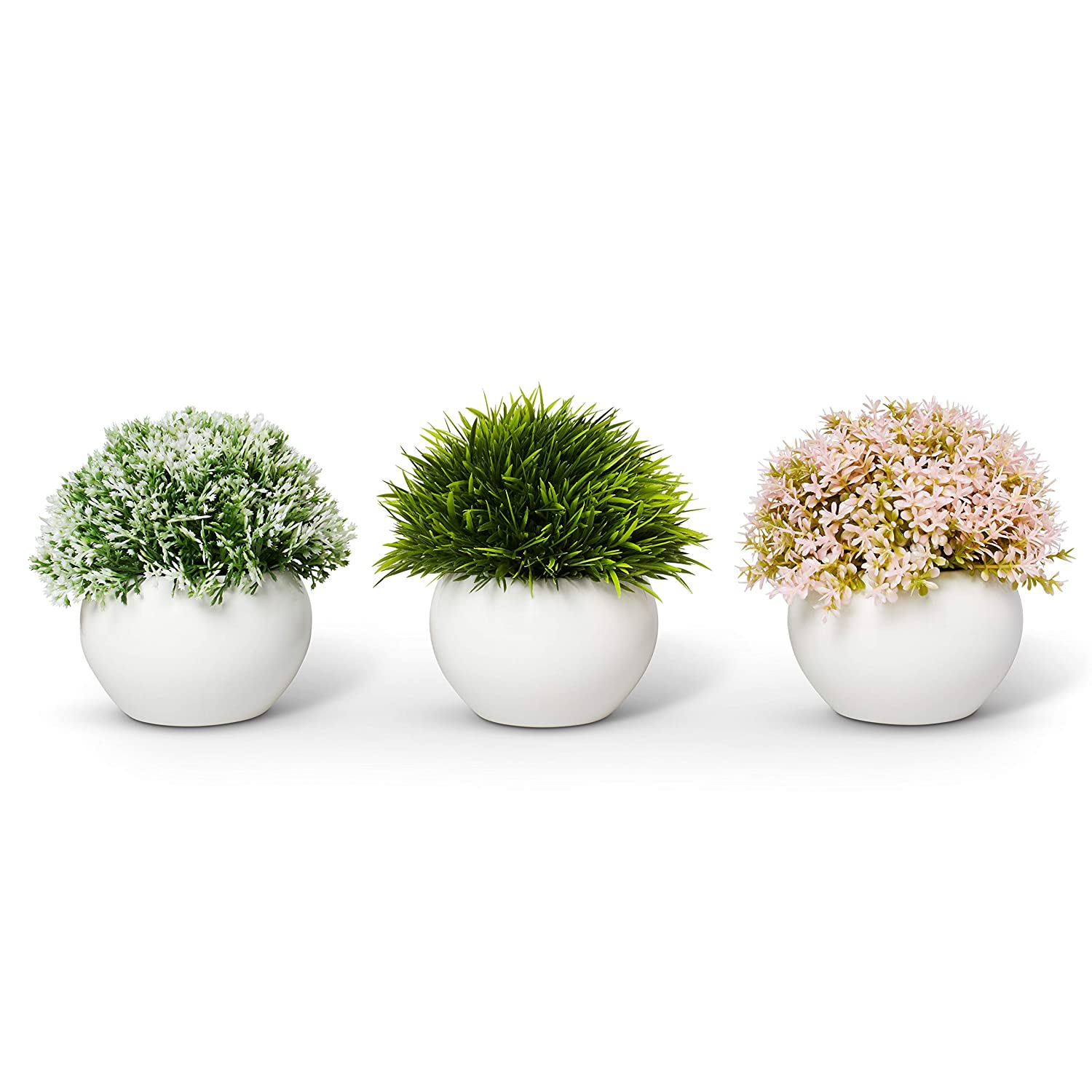 Farmhouse Plants with Pot - Artificial Plants For Decoration - Office/Kitchen/Bathroom/Bedroom/Mantle/Balcony/Home Decor - Faux Plants Set - Farmhouse Decor - Home Decor (Pink & Green)
