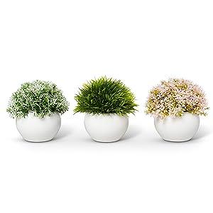 Farmhouse Plants with Pot - Artificial Plants For Decoration - Office/Kitchen/Bathroom/Bedroom/Mantle/Balcony/Home Decor - Faux Plants Set - Farmhouse Decor - Home Decor (Pink & Green)