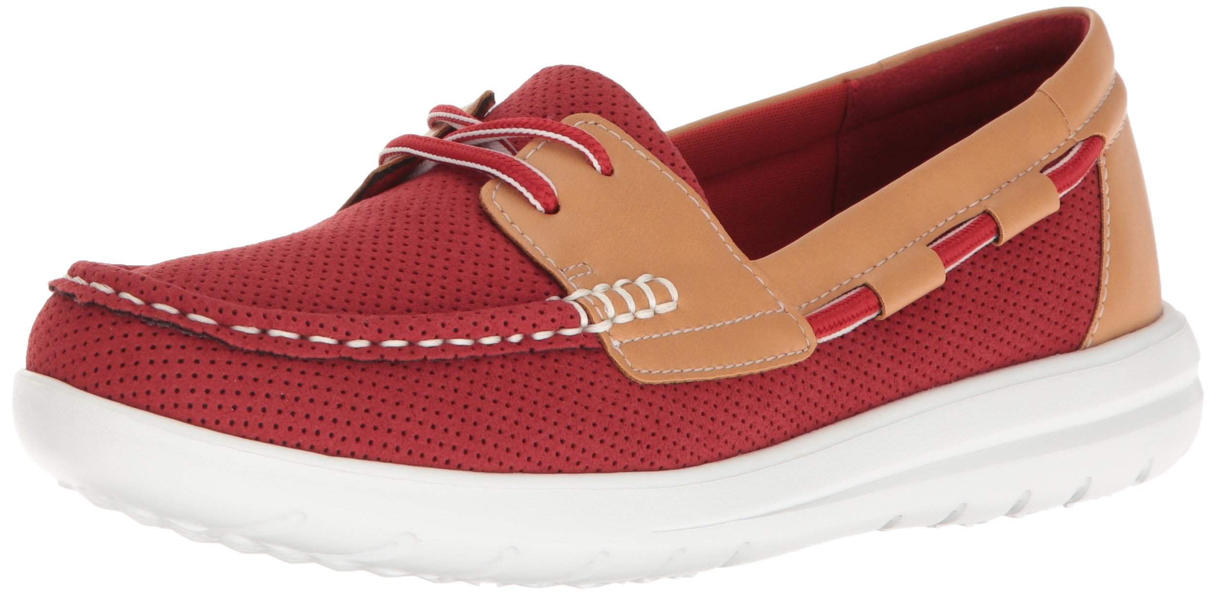 CLARKS Women's Jocolin Vista Boat Shoe, Red Perforated Microfiber, 12 B(M) US by CLARKS (Image #1)