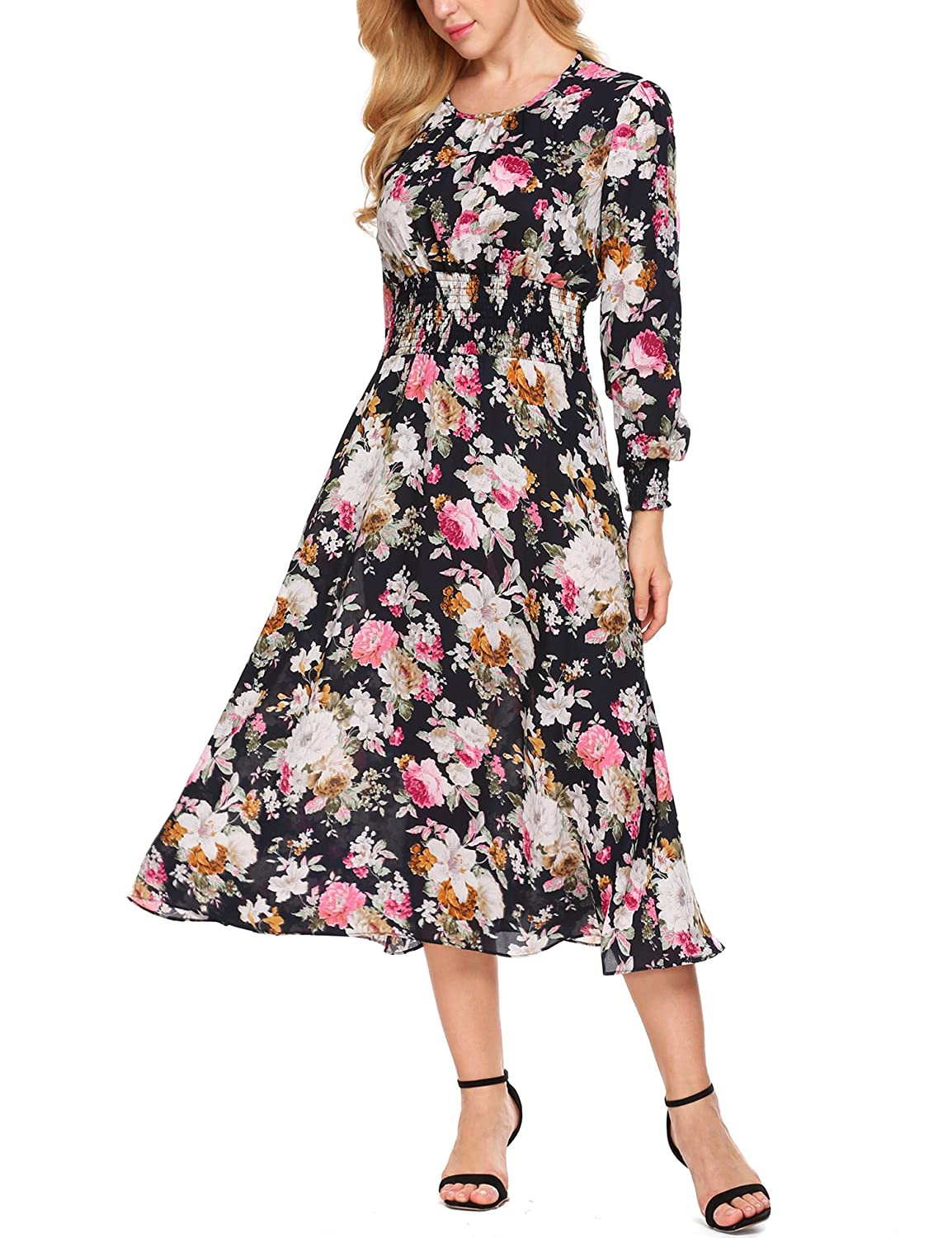 55084f4d7f930 Amazon.com: Zeagoo Women Chiffon O-Neck Long Sleeve Floral Print Long Maxi  Party Beach Dress: Clothing